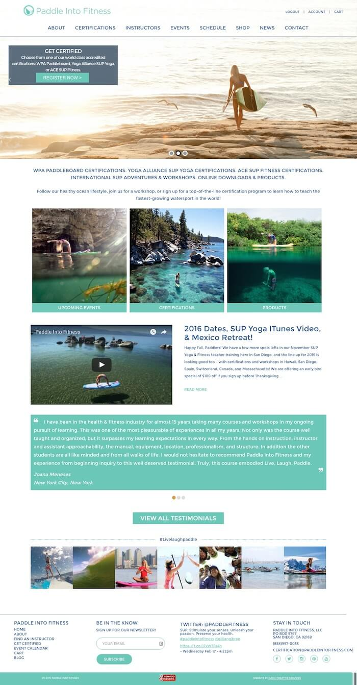 hawaii web design Paddle Into Fitness ecommerce site