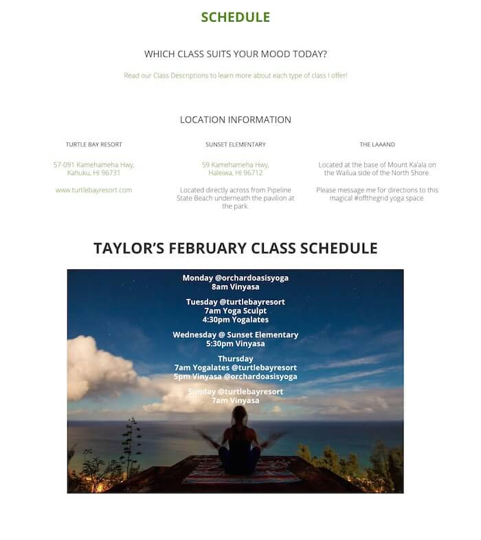 hawaii web design Taylor Shumate Yoga wordpress website
