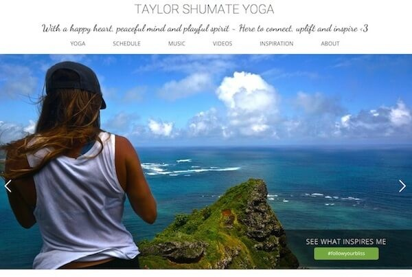 hawaii web design Taylor Shumate Yoga wordpress website