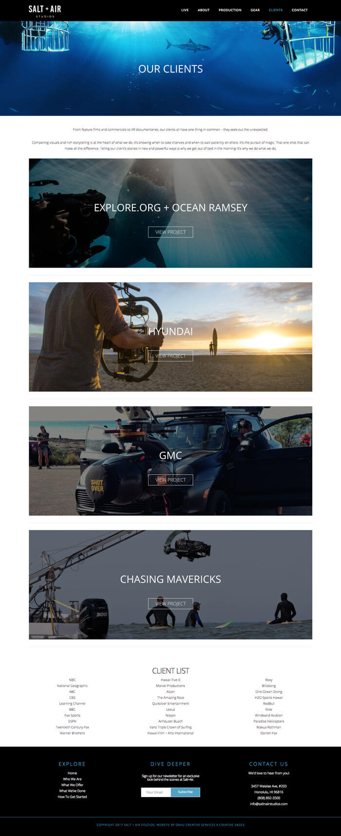 hawaii web design production company underwater photography aerial videography